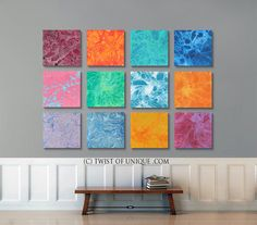 Oversized Abstract art /  12 panel CUSTOM( 15 Inch x 15 Inch) /  Abstract Wall Art / Orange, Red, Yellow, purple, blue, green