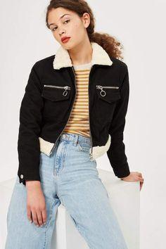 61ca287e83f PETITE Zip Cropped Borg Denim Jacket - Jackets   Coats - Clothing