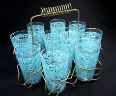 GLASSES Set with Carrier / MID CENTURY / Set of 11 Tumblers / Turquoise Pattern / Vintage