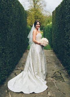 Here's Katie in her gorgeous Jesus Peiro gown. Katie and Nigel were married at Great Fosters in Surrey.   Photographer: Christine Wehrmeier.