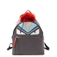 Fendi Women's Graphic Backpack - Grey ($1,999) ❤ liked on Polyvore featuring bags, backpacks, grey, pom pom bag, day pack backpack, zipper bag, grey bag and fur bags