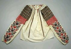 Romanian Blouse Date: early century Culture: Romanian Medium: cotton, metal, glass Dimensions: Length at CB: 23 in. cm) Credit Line: Gift of Gregoire Cavafu in memory of his mother Armenouhi Edirnelian-Cavafu, Romania, 1986 Accession Number: Mode Alternative, Folklore, Folk Embroidery, Embroidery Patterns, Costume Institute, Textiles, Folk Costume, Macedonia, Patch