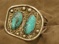 Eye Catching Sterling Silver Chunky Turquoise Cuff Bracelet,Native American,Mens by pasttimejewelry on Etsy