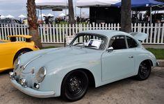 Porsche 356...Love the black wheels on the powder blue paint!!