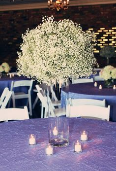 Baby's breath centerpiece - looks like a cloud . . and CHEAP!