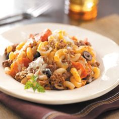 Hearty Pizza Casserole Recipe from Taste of Home -- shared by Barbara Walker of Brookville, Kansas  #Make_Ahead  #Freezer_Meal
