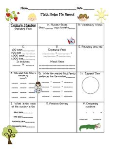 Here's a handout for daily review of place value concepts. Pick a number and students must represent it in 12 different ways!