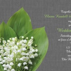 This is an elegant wedding collection accented with lily of the valley on a grey linen background. Emerald Green Weddings, Wedding Linens, Lily Of The Valley, Elegant Wedding, Wedding Invitations, Grey, Collection, Wedding Undergarments, Gray