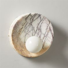 Slope Marble SconceCB2 Exclusive Purchase now and we'll ship when it's available.   Estimated i... Flush Mount Lighting, Home Lighting, Modern Lighting, Sconce Lighting, Kitchen Lighting, Lighting Ideas, Lighting Design, Wood Sconce, Modern