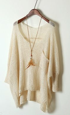 Slouchy Drop Shoulder Pullover Sweater