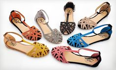 Groupon - $ 24.99 for Carrini Rhinestone Ankle-Strap Sandals ($ 50 List Price). Multiple Colors. Free Shipping and Returns.. Groupon deal price: $24.99