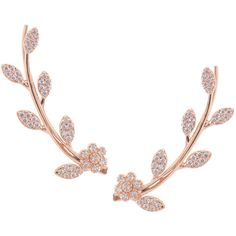 Humble Chic NY Floral Leaf Ear Crawlers ($48) ❤ liked on Polyvore featuring jewelry, earrings, cuff earrings, rose jewelry, flower jewelry, rose stud earrings and rose earrings