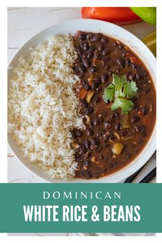 Dominican Classic White Rice and BeansYou can find Dominican recipes and more on our website.Dominican Classic White Rice and Beans White Rice Recipes, Rice Recipes For Dinner, Easy Rice Recipes, Mexican Food Recipes, Vegetarian Recipes, Cooking Recipes, White Rice And Beans Recipe, Indian Beans Recipe, Pinto Beans And Rice