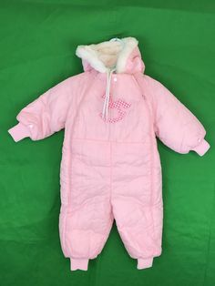 5d7189c3e Vintage Babycrest Pink Quilted Zippered Snowsuit Size 24M | eBay Winter Baby  Clothes, Baby Winter