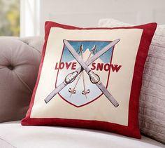 Vintage ski pillow. Perfect for Christmas decor! Potterybarn.com