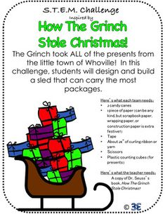 Grinchy STEM Challenge for Christmas Steam Activities, Holiday Activities, Science Activities, Classroom Fun, Classroom Activities, Stem Classes, Reading Projects, Stem Challenges, School Holidays