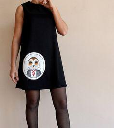Owl Dress, Womens Black Mini Cotton Jersey Dress, handpainted Owl applique, Party dress