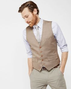 Tight Lines waistcoat - Taupe | Tie the Knot | Ted Baker NEU