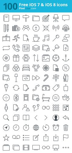 100 free iOS 7 & iOS 8 icons in various sizes for tab bars and toolbars (@1x, @2x & @3x). 1000's more at PixelLove.com