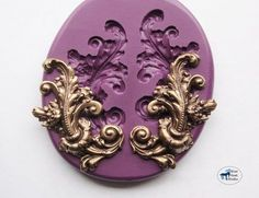 Right and Left Flower and Leaf Flourish Mold/Mould -Art Nouveau Victorian Cake Decorating Mold - Silicone Molds - Polymer Clay Resin Fondant