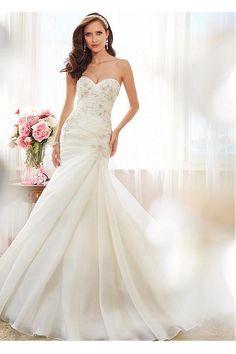 grande immagine 4 Vestido de noiva Com Grânulos Sem cintura Meia capa Cauda Pequeno