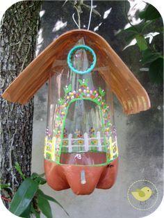 casa de passarinho com garrafas pet - Pesquisa Google