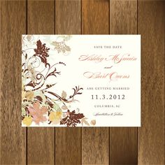 Fall Leaves Save the Date by PaperGoodiesbyKim on Etsy