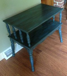 vintage rock maple table refinished with Annie Sloan Aubusson Blue chalk paint and dark waxed/distressed- now a nice TV stand