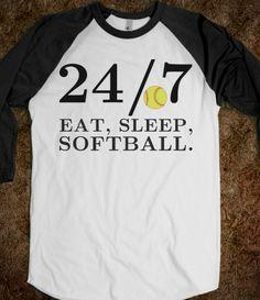 24/7 Eat, Sleep, Softball tee t shirt