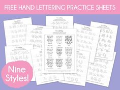 Free Hand Lettering Practice Sheets: 9 Styles! Download all 9 styles and get your lettering practice on! Includes pen recommendations for each style.   dawnnicoledesigns.com