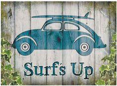 VW Beetle Surf's Up Metal Wall Sign - Cool VW Stuff  - 1