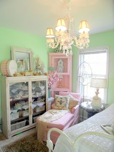 Another view of this lovely guest bedroom (from Shabby French Cottage)