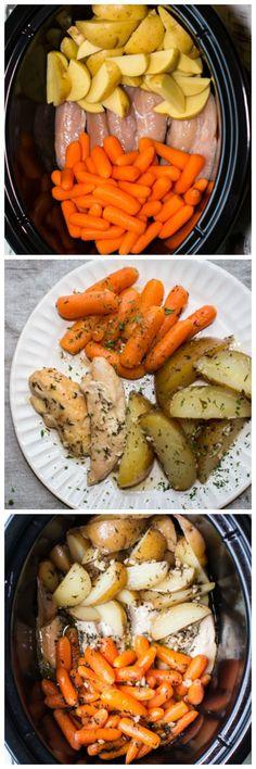 Slow Cooker Garlic Butter Chicken and Veggies Slow Cooker Alho Manteiga Frango e Vegetais Crockpot Dishes, Crock Pot Cooking, Dinner Crockpot, Crock Pots, Crockpot Veggies, New Recipes, Dinner Recipes, Healthy Recipes, Restaurant Recipes