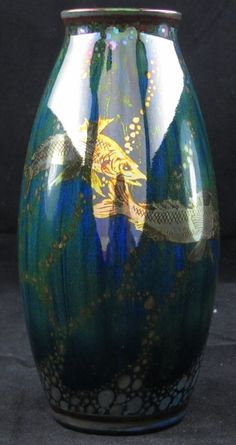 "Pilkington's Lustre Vase decorated with 5 Fish by Richard Joyce  7.5"" high  Dated: 1914 - 23  www.adantiques.com"