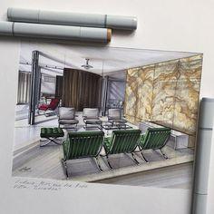 Villa Tugendhat by Ludwig Mies vas der Rohe #tugendhat #vilatugendhat #interior #interiordesign #interiorsketch #sketch #sketching #design #drawing #markers #скетч #скетчинг #маркеры #интерьерныйскетчинг #arch_more #arq_sketch #ar_sketch #arch_sketch #bestsketch #archisketcher #arqsketch #arquitetapage #modernarchitect