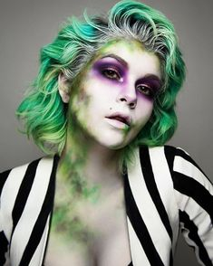 creative halloween makeup looks for women, beetlejuice halloween makeup ideas for women, green and purple halloween makeup looks for women, famous movie characters halloween makeup #halloweenmakeup