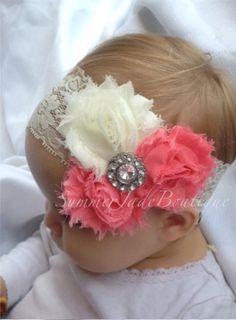 Peach / coral lace headband. flower girl / baby shower / newborn photos