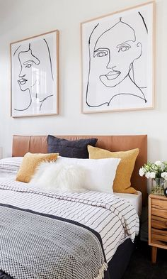 The Block Bianca and Carla& second guest bedroom was warm and invitin. The Block Bianca and Carla& second guest bedroom was warm and inviting with it& timber bedside tables and pops of mustard yellow. Home Bedroom, Bedroom Furniture, Bedroom Decor, Bedroom Storage, Bedroom Apartment, Furniture Ideas, Wall Art For Bedroom, Apartment Ideas, Bedroom Frames