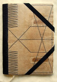 PaperBag by B a s t i a n o - Hard covers made from a recycled paper bag with the remnants of the handles left visible. Stitches made with thick black thread, it has a bookmark and also a pocket inside the back cover, 21x15cm, 60 pages of old telex paper. Inside covers made with pages of a journal of medicine bastiano.etsy.com