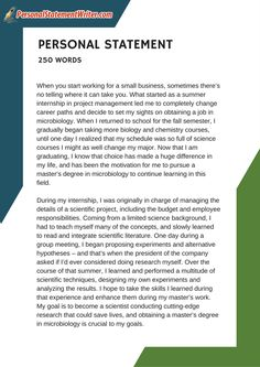 Ps Writer Samples Uk Pswritersamplesuk On Pinterest  Word Personal Statement Sample Which Will Prove That Less Is More See  More Samples
