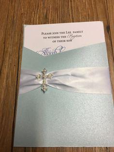 Blue Baptism Invitation - First Communion Invitation - Elegant Pocket Invitation -- Blue Pocket Invitation