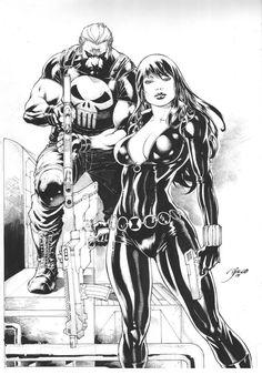 Black Widow & Punisher by Diego Bernard