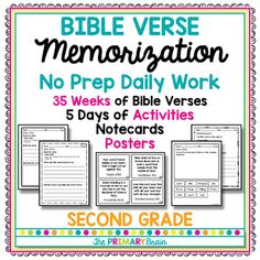 The Bible Verse Memorization No Prep Daily Work Packet for Second Grade will help your students learn a new Bible verse each week of the school year! There are a total of 35 Bible verses for 35 Weeks of NO PREP classroom activities or homework. This resource will help your students learn Bible verses through the year.