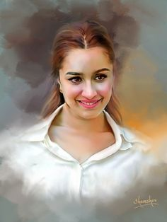 Photo shop painting Indian Art Paintings, Digital Paintings, Super Pictures, Easy Drawings For Kids, Art Corner, Celebrity Drawings, Oil Portrait, Matte Painting, Shraddha Kapoor