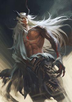 Fantasy Warrior, Fantasy Demon, Demon Art, Fantasy Races, Fantasy Character Design, Character Design Inspiration, Character Art, Dark Fantasy Art, Demon King Anime