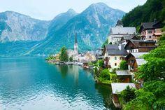 Beautiful summer Alpine Hallstatt Town and lake Hallstatter Sea view (Austria) photo