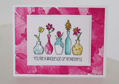 Video Tutorial from BrandysCards.com featuring the Stampin' Up! Vivid Vases and Happy Watercolor stamp sets.