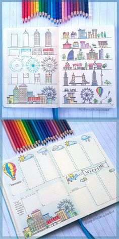 Beautiful bullet journal layout dieas and how to draw a city scape Wreck This Journal, My Journal, Journal Pages, Journal Ideas, Kalender Design, Bullet Journel, Journal Layout, Bullet Journal Inspiration, Smash Book