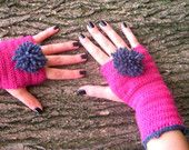 Pink fingerless mittens,winter fashion,pink fingerless,pink hat,women accessories,gloves