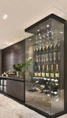 PIN: HeatherDelamorton Dream Home Design, Home Interior Design, Interior Decorating, House Design, Decorating Ideas, Wine Cellar Design, Glass Wine Cellar, Wine Design, Glass Bar